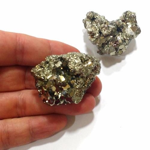 lote com 2 piritas qualidade extra 110g 40mm pedras naturais