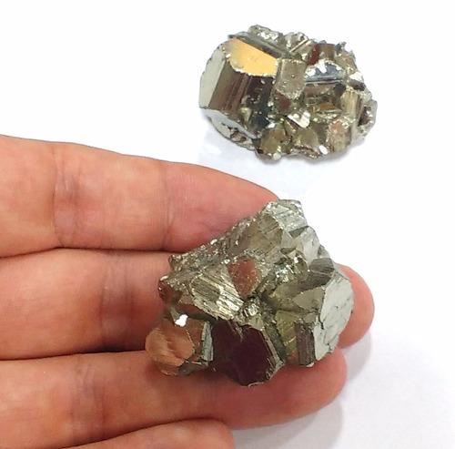 lote com 2 piritas qualidade extra 93g 40mm pedras naturais