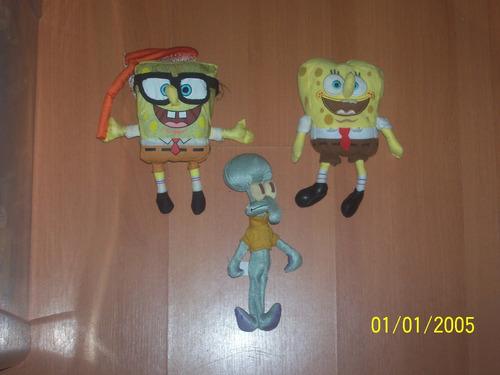 lote com 3 bonecos bob esponja de pano nicklodeon cartoon