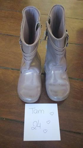 lote com 3 botas menina tam 24 preta lilas marrom