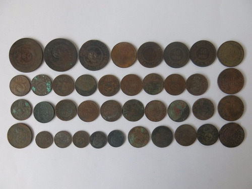 lote com 39 moedas cobre 20 40 réis e patacão antigas