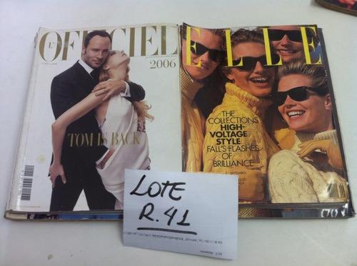 lote com 4 revistas importadas de moda elle officiel