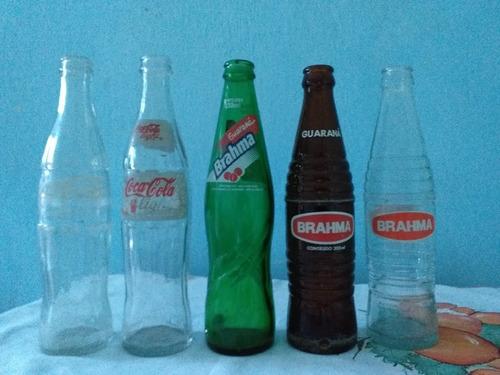 lote com 5 garrafas de vidro de refrigerante