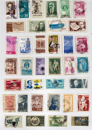 lote com 50 selos nacionais - brasil do século xx (lote2)