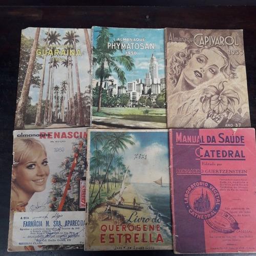 lote com 6 almanaques mistos 1950 a 1969