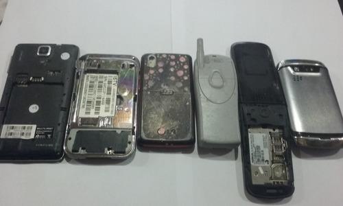 lote com 6 celulares para reaproveitamento de peças    n29-7