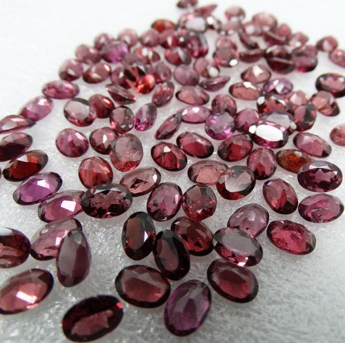 lote com 6 pedras granada rodolita natural oval 7x5 mm