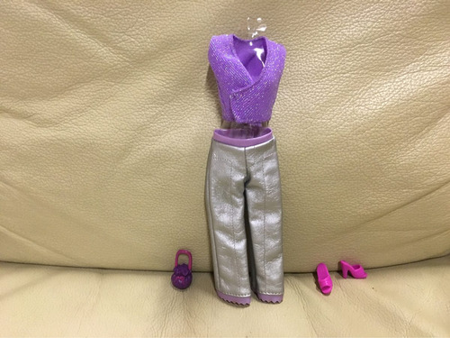 lote conjunto roupas barbie blusa croped bolsa sapato
