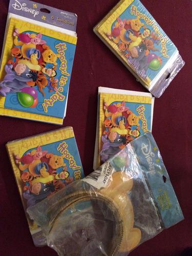 lote cotillon winnie  the pooh tarjetas sobre vinchas $ 300