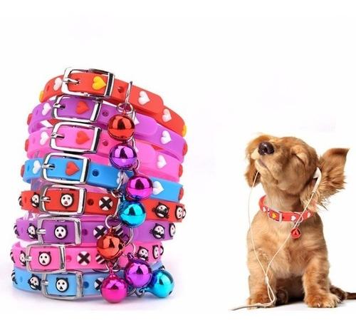 lote de 10 collares perro gato con cascabel silicon corazone