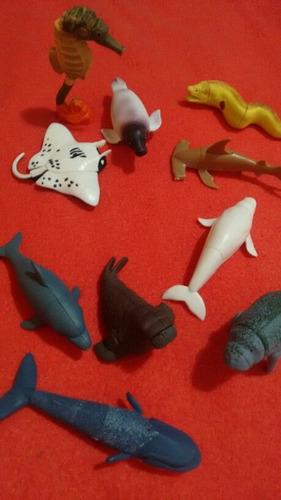 lote de 10 figuras animales marinos de ricolino.