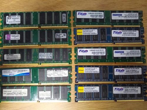 lote de 10 memorias ddr 400 de 1 gb varias marcas