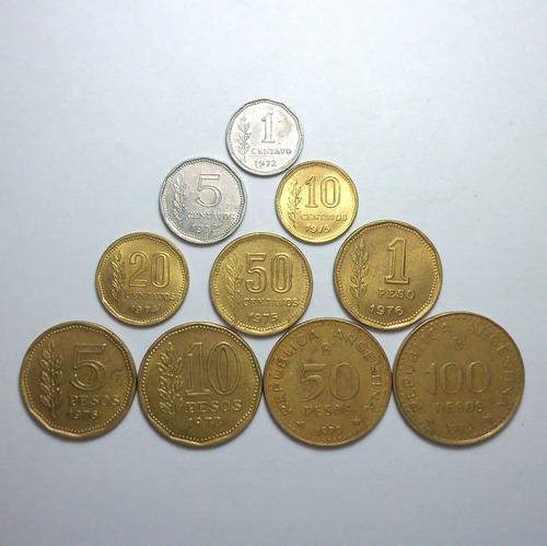 lote de 10 monedas argentinas distintas pesos ley completo!