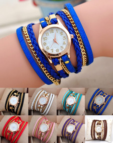 8fe85e2d0dd5 Lote De 10 Relojes Brazalete De Piel Fashion! Envio Gratis!