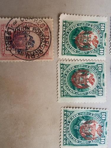 lote de 10 sellos de peru 1881, 1882 de la ocupacion chilena