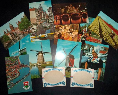 lote de 12 postales antiguas de holanda y dos minilibros