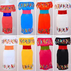 Lote De 12 Vestidos Mexicanos Bordado Típico Otomí De Manta
