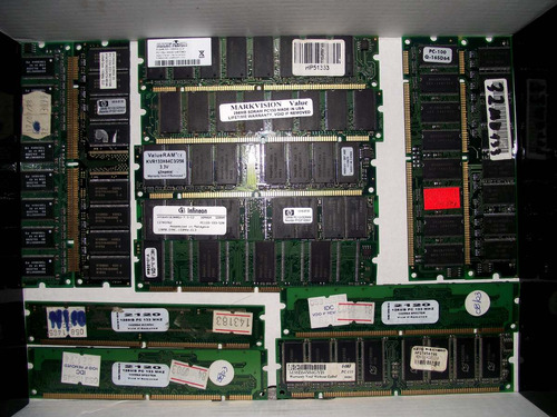 lote de 13 memorias dimm desde 32 mb a 512 mb
