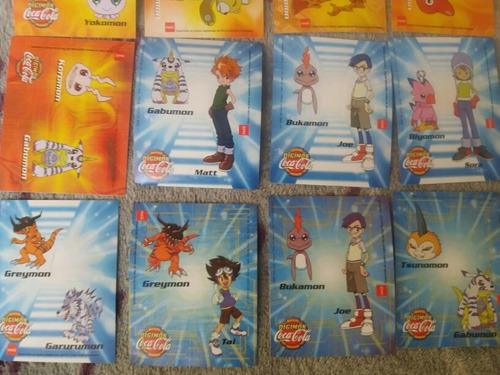 lote de 16 stickers - digimon coca cola