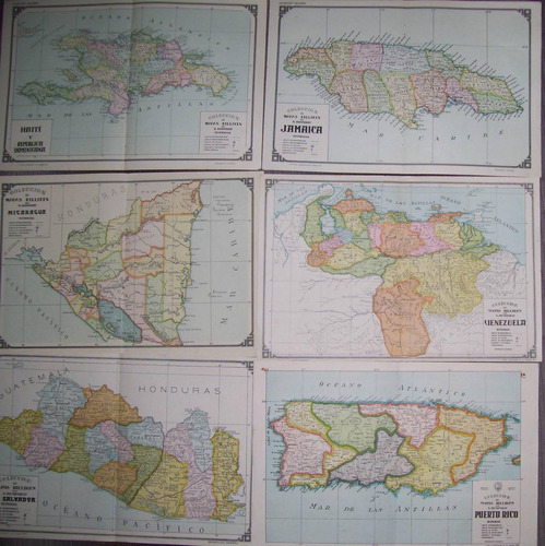 lote de 17  de  mapas de paises laminas  de billiken -