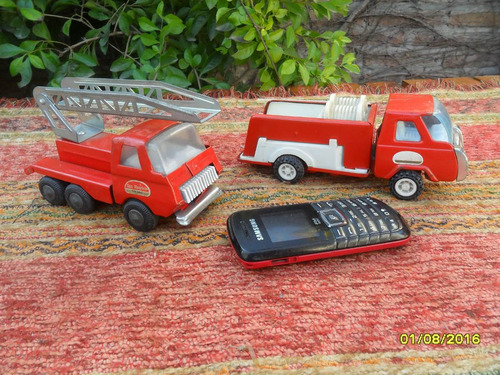 lote de 2 antiguos camiones carros bomberos san mauricio