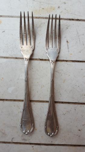 lote de 2 antiguos tenedores de alpaca sellado christofle