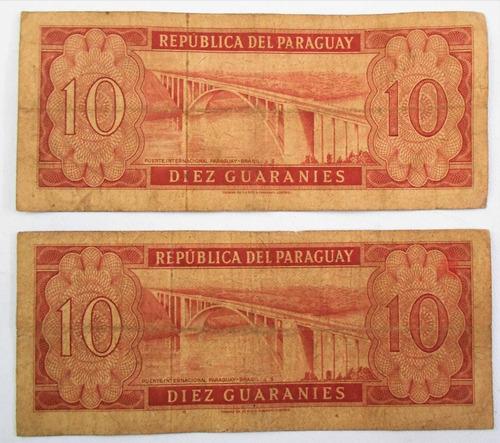 lote de 2 billetes de 10 diez guaranies paraguay serie a