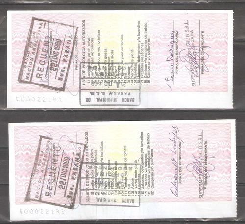 lote de 2 bonos 1989 solidarios de 2500 australes raros