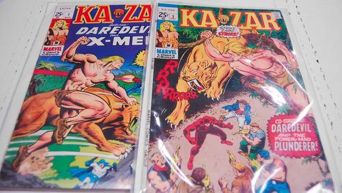 lote de 2 comics de ka-zar de 1970 en ingles marvel x men
