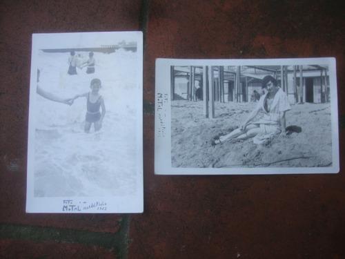 lote de 2 foto postales mar del plata 1935-foto motal