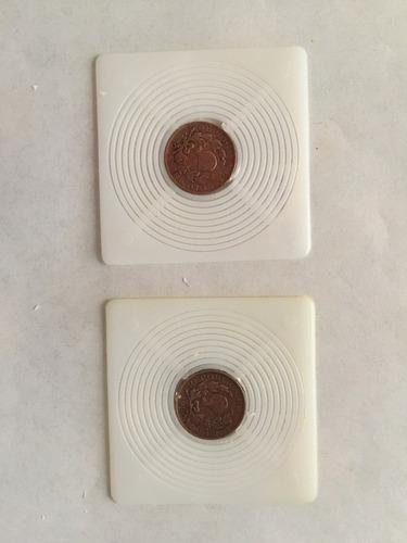 lote de 2 monedas de i centavo antiguas de colombia 1950