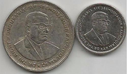 lote de 2 monedas de mauritiius 1 rupee y 20 cents 1987/1995