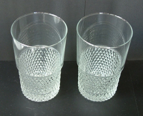 lote de 2 vasos de vidrio retro vintage