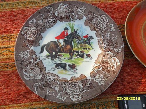 lote de 3 antiguos platos colgar porcelana england ....