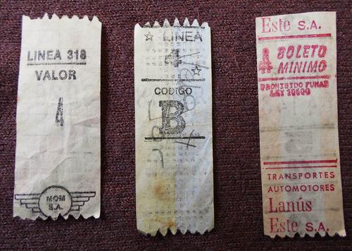 lote de 3 boletos capicua antiguos lineas de colectivo