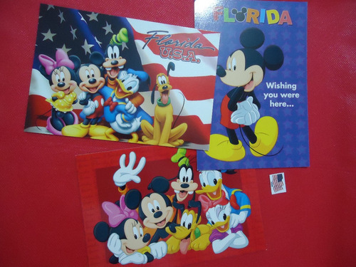lote de 3 cartões postais disney .