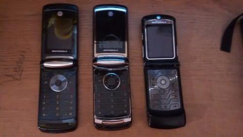 lote de 3 celulares motorola v3