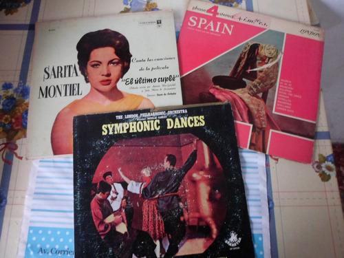 lote de 3 discos lp  - danzas - canciones - sinfonica
