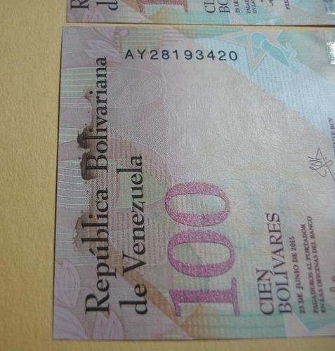 lote de 3 errores en billetes de 100 bs