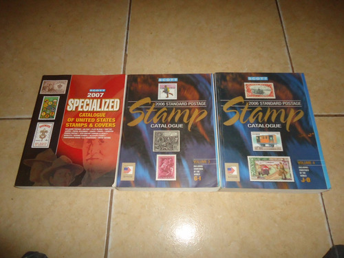 lote de 3 libros catalogos scott estampilla postal 2006 2007