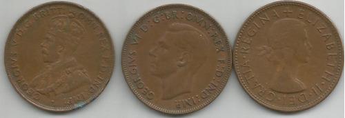lote de 3 monedas de australia 1 penny años 1934-1940-1953