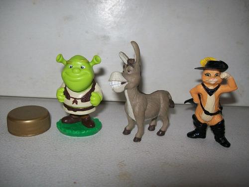 lote de 3 shrek, burro, gato con botas figuras disney shrek