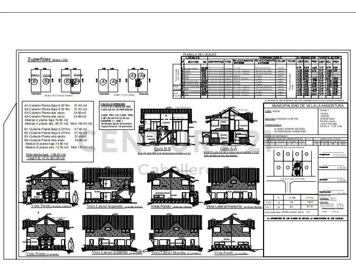 lote de 330m2 con proyecto de casa de 74.80m2 villa la angostura