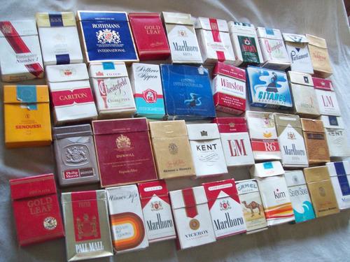 lote de 39 marquillas vacías coleccionables de cigarrillos