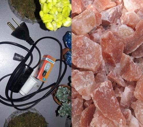 lote de 4 kit de cables y 4 kg piedras de sal chica y median
