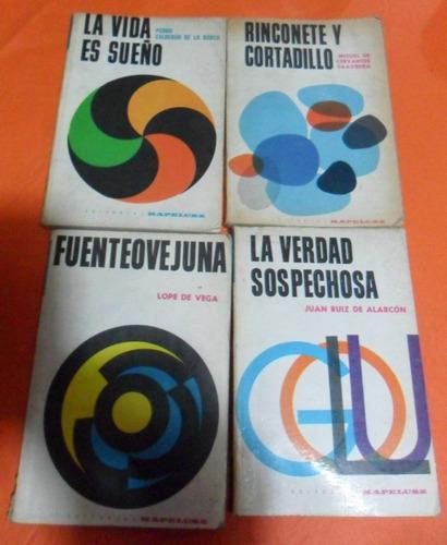 lote de 4 libros la vida es sueño, fuenteovejuna, rinconete