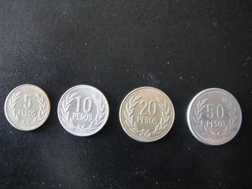 lote de 4 monedas 5, 10, 20, 50 pesos colombia