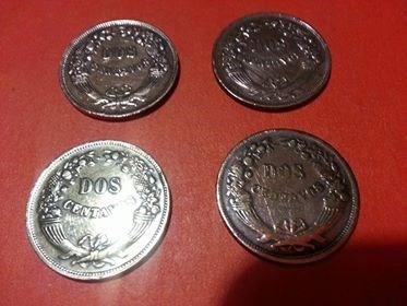 lote de 4 monedas de dos centavos  de cobre del peru