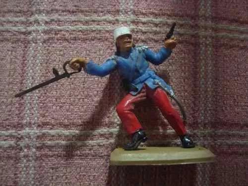 lote de 4 soldados antiguos d plástico guerra cowboy juguete