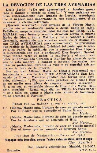 lote de 40 estampas nta. sra de las 3 ave marias (1957)